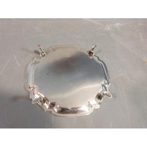 2 - Silver stylized octagonal four footed mint dish. Hallmarked SJP for Solomon Joel Phillips, London, 1...