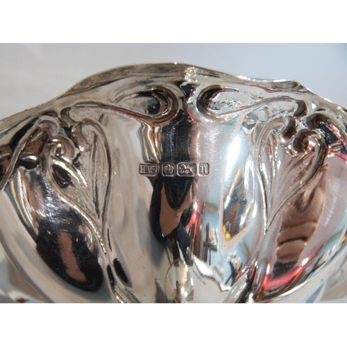 3 - An Edwardian silver pedestal dish with an Art Nouveau style floral and foliate design. Hallmarked: H...