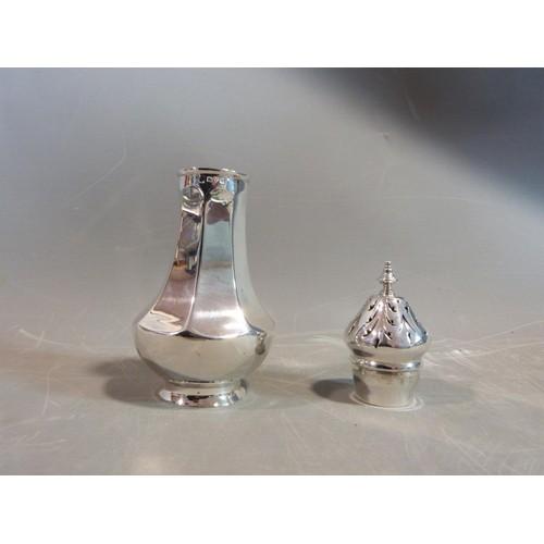 4 - A Edwardian silver sugar sifter. With foliate design pierced lid. Hallmarked: DEGE for George Edward...