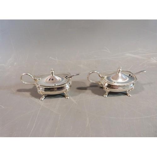 5 - Silver cruets and salts and a pepper shaker. Hallmarked: SLd for William Suckling Ltd,1955, Birmingh...