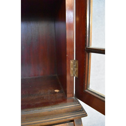 49 - An Edwardian mahogany and inlaid bureau bookcase with astragal glazed upper section above fitted int...