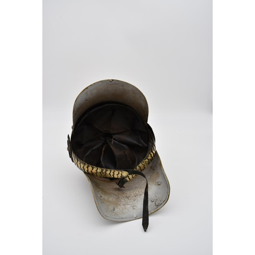 143 - A WW1 style German Prussian lobster tail Pickelhaube helmet. Metal overlapping plates on the straps ...