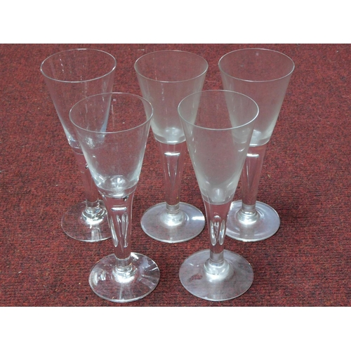 34 - A collection of antique hand blown wine glasses with tear drawn bubble stems. H.22cm...