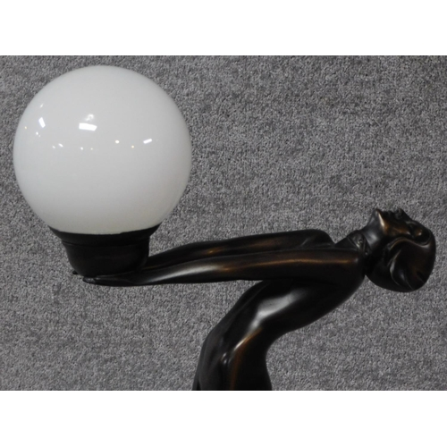 63 - An Art Deco style bronze effect resin table lamp of a lady dancer in a backwards pose with milk glas...