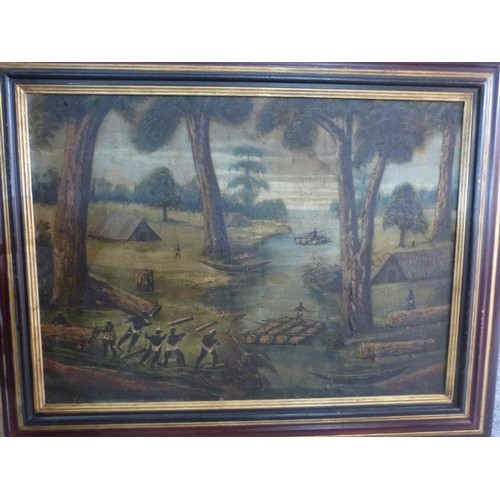 205 - A framed oil on canvas, African tribal figures, unsigned, Christie's label verso. 103x83...