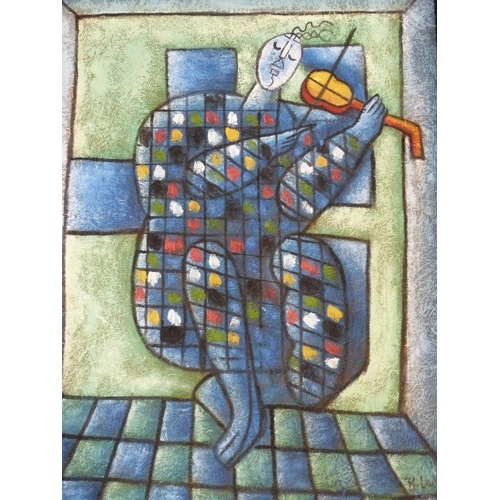 207 - A framed oil on canvas in the style of the Blue Violinist by Chagal. By Bert Long. 54x64...