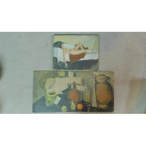 32 - An oil on canvas depicting a nude woman on a bed together with a still life oil on panel. 81x41cm (o...