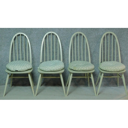 276 - A set of four later painted vintage Ercol Windsor Quaker dining chairs with BS kitemark stamped to b...