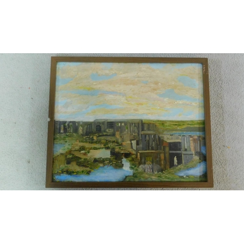 46 - A framed dual side still life and landscape scene oil on board, by Rene Vonk. 53x42cm...