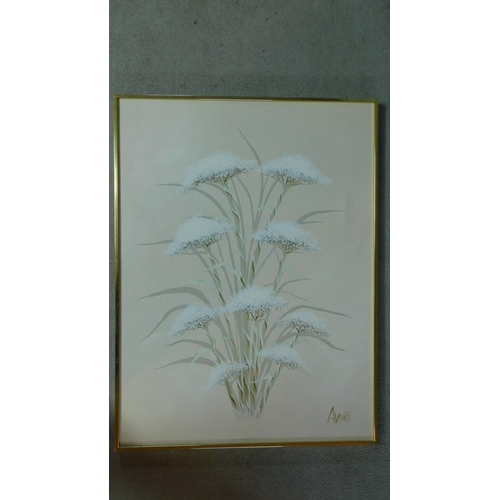48 - An oil on canvas depicting a cow parsley, signed by Avanti. 102x77cm...