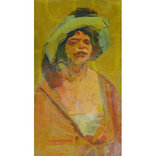 33 - An oil on board, man in a robe and hat, gallery label verso, signed R. Jewell. 36x26cm...