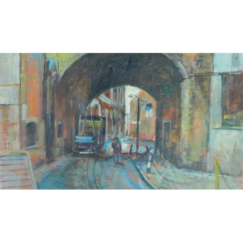 24 - George Manchester (British 1922-1996) Oil on canvas, London street scene, gallery label verso, monog...