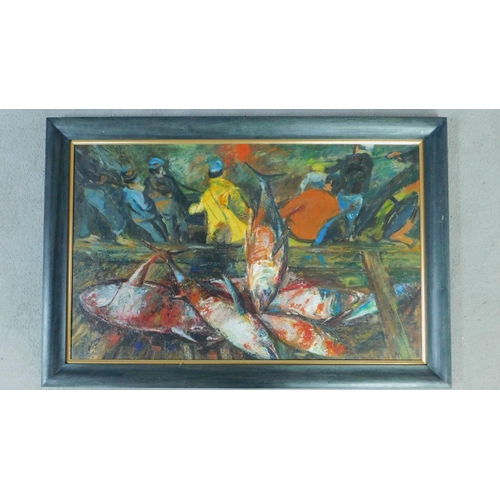 25 - George Manchester (British 1922-1996) Large framed oil on board, tuna catch, monogrammed. 72x108cm...