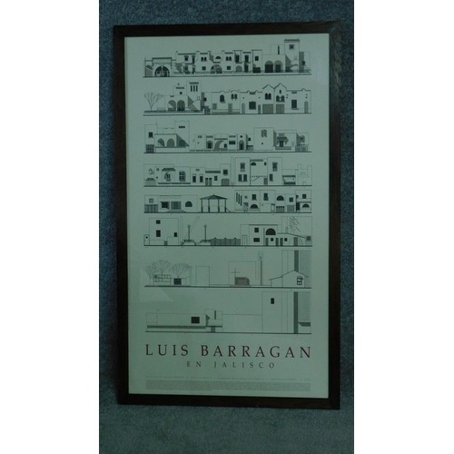 78 - A framed and glazed architectural poster of Mexican architect Luis Barragan's 'En Jalisco'. 103x61cm...