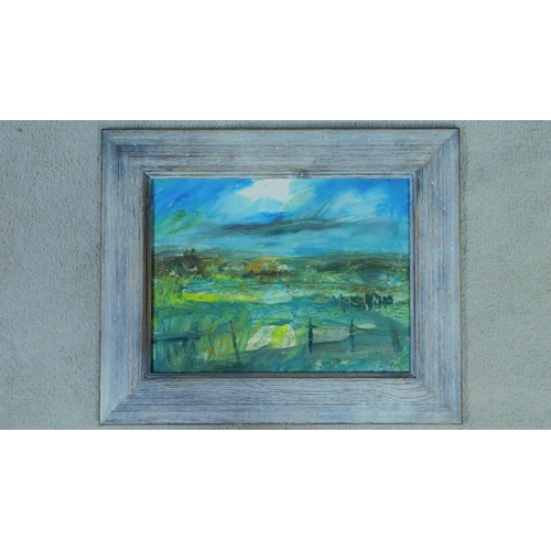 26 - George Manchester (British 1922-1996) Framed oil on board, landscape, monogrammed. 53x44cm...