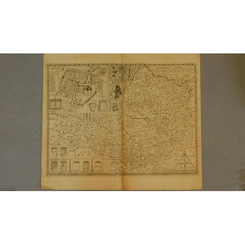 79 - A 17th century map of Somerset_shire with a close up detail of the city of Bath. Scale 100, Dated 16...