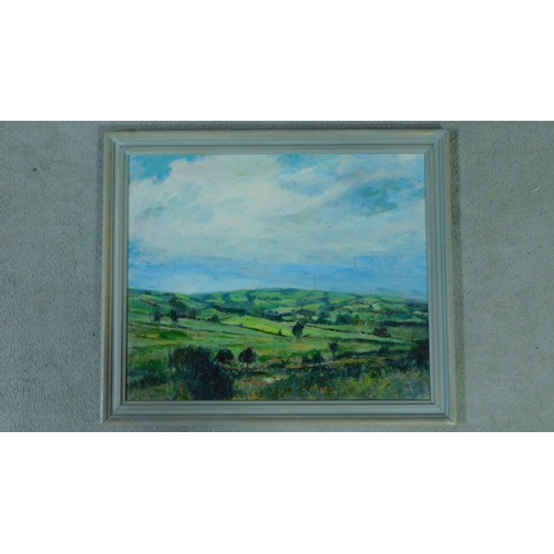 31 - George Manchester (British 1922-1996) Framed oil on board, landscape, monogrammed. 57x67cm...