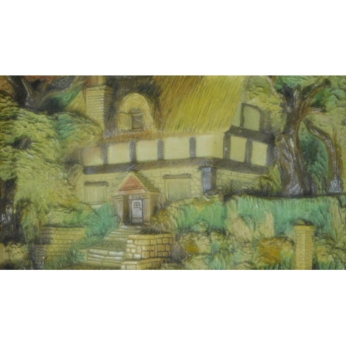 80 - A vintage box framed and glazed three-dimensional image, thatched country cottage. 40x33cm...