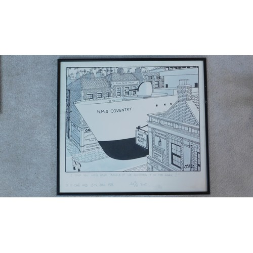 282 - Raymond Allen Jackson (1927-1994) A framed and glazed brush and black ink cartoon drawing by JAK, si...