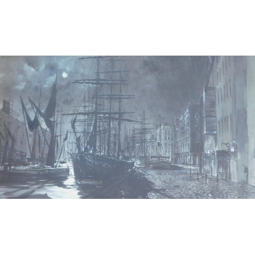 283 - A large framed and glazed watercolour, docked tall masted ship under moonlight, by Peter Knox (Briti...