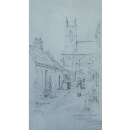 284 - Robert Jobling (1841- circa 1925) A framed and glazed pencil sketch of a church in a village setting...