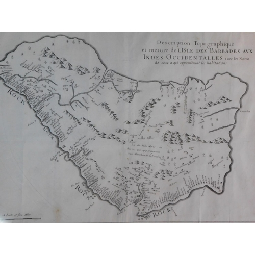 289 - A framed and glazed topographic map of the island of Barbados. 57x70cm...