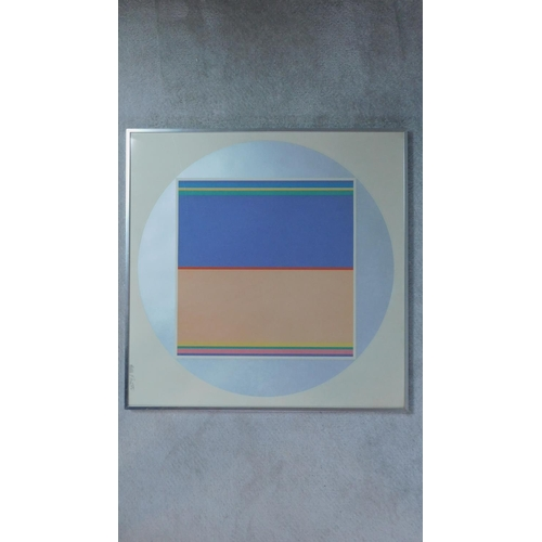 315 - A framed and glazed abstract signed limited edition screen print, 11/100. Indistinctly signed, 1972....