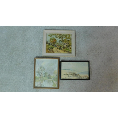 358 - Harold Harris Jones (1908-1991) Three framed oils on board, various subjects. 26x30cm...