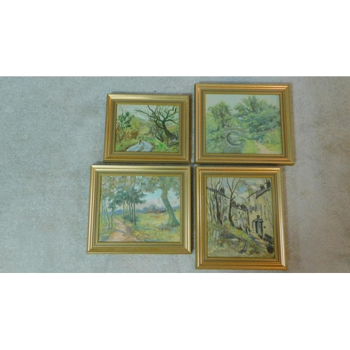 359 - Harold Harris Jones (1908-1991) A collection of four gilt framed oils on board, various town and lan...