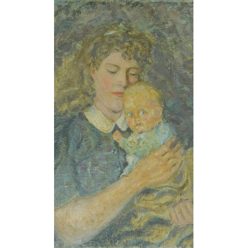 360 - Harold Harris Jones (1908-1991) An unframed oil on board, mother and child and an interior scene, ga...