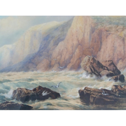 303 - Edgar E. West (fl.1857-1892) A large 19th century framed and glazed watercolour, stormy sea and clif...