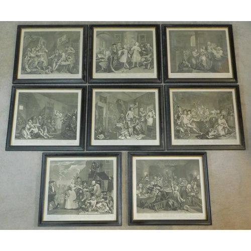 268 - A set of eight 19th century framed and glazed Hogarth engravings. 43x49cm...