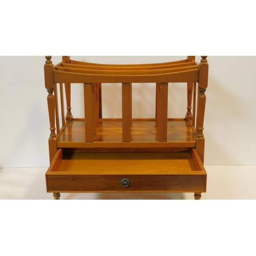 50 - A mahogany 19th century style Canterbury fitted with base drawer on turned tapering supports. H.53 W...