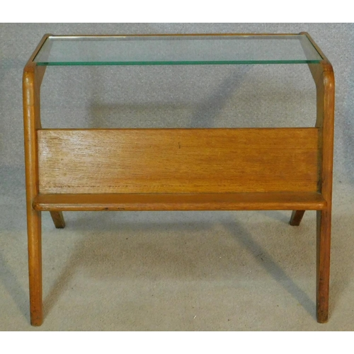 51 - A mid century vintage teak magazine table with plate glass top and open book shelf. H.53 W.65 D.51cm