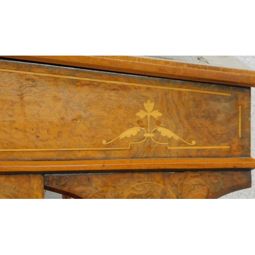 10 - A late Victorian burr walnut Aesthetic style Davenport with satinwood floral Arabesque inlay and fit...