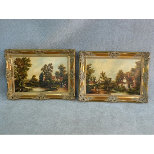 267 - A pair of 19th century style oils on canvas, figures in rural country village scenes, in gilt Rococo...