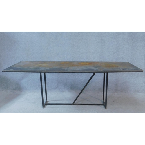 81 - A contemporary metal topped industrial style coffee table on metal tubular base. H.59 W.170 D.60cm...