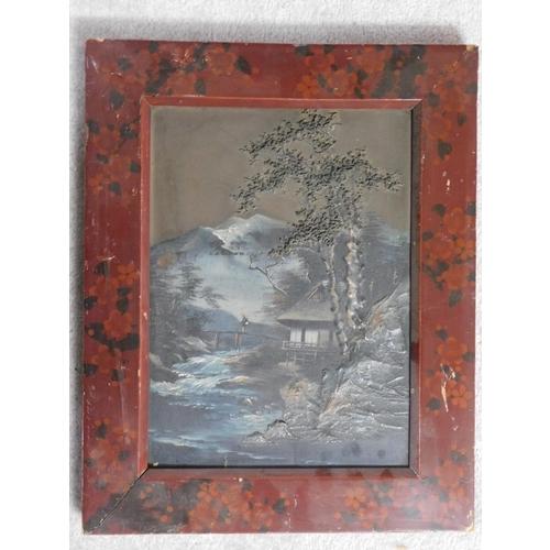 266 - A framed 19th century Japanese oil on board, man on river bridge scene, unsigned. 45x36cm