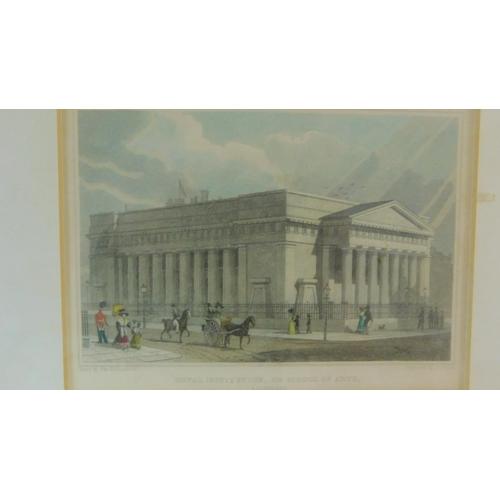300 - Five framed and glazed prints vintage and antique prints. Including an antique hand coloured engravi...