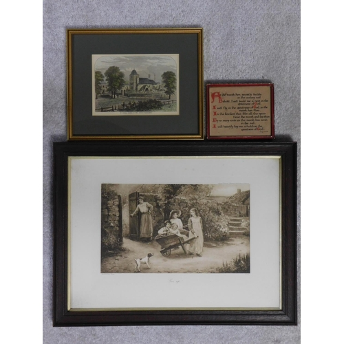 301 - A 19th century framed and glazed print, children in a garden and two other prints. 62x47cm...