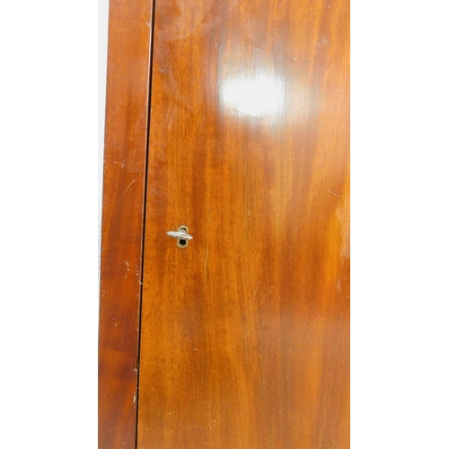 187 - A pair of 19th century French mahogany pot cupboards with panel doors on plinth bases. H.78xW.45xL.2...