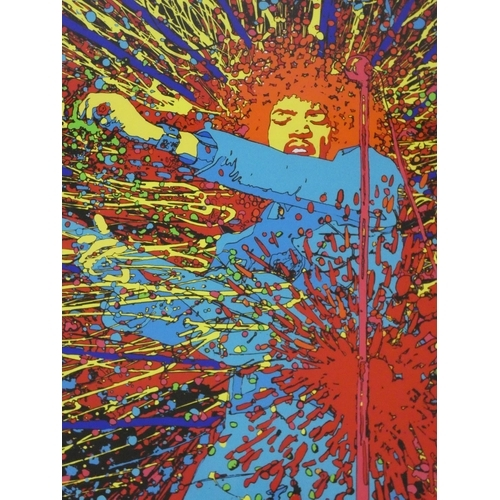 333 - A framed and glazed limited edition Jimmy Hendrix print titled 'Explosion' printed on 280 gsm art pa...