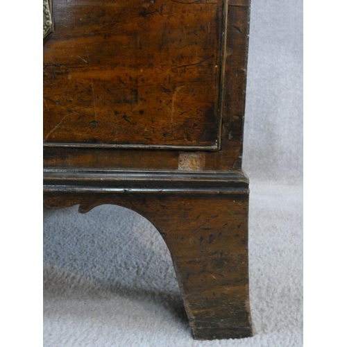 198 - A late Georgian mahogany bowfronted chest of three short over three long drawers fitted with ivory e...
