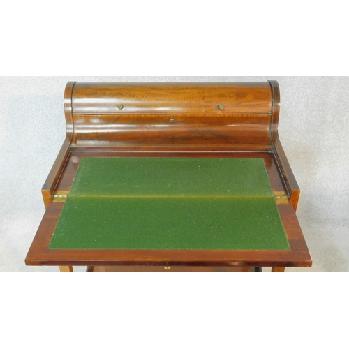 278 - An Edwardian Sheraton style mahogany and satinwood inlaid bonheur du jour writing table with well fi...