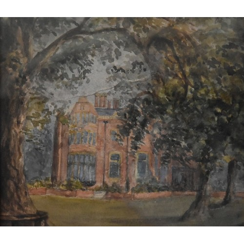 10 - A framed and glazed watercolour, an old manor house through trees, unsigned. H.30xW.34