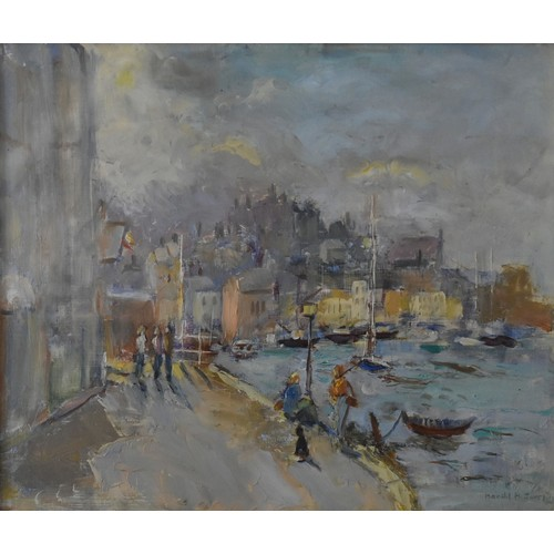 9 - Harold Harris Jones (1908-1991), a gilt framed and glazed oil on board, the waterfront at Weymouth, ...