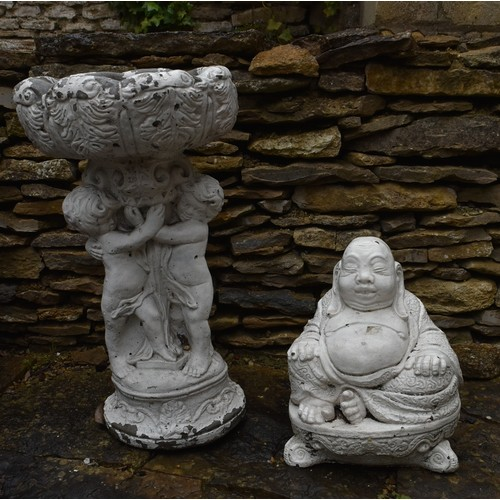 99 - A painted cast concrete bird bath and a figure of a seated Buddha. H.40cm