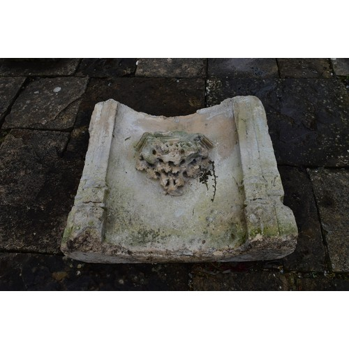 113 - A medieval limestone Gothic church fragment, 14th or 15th century. The base of a niche, which was of...