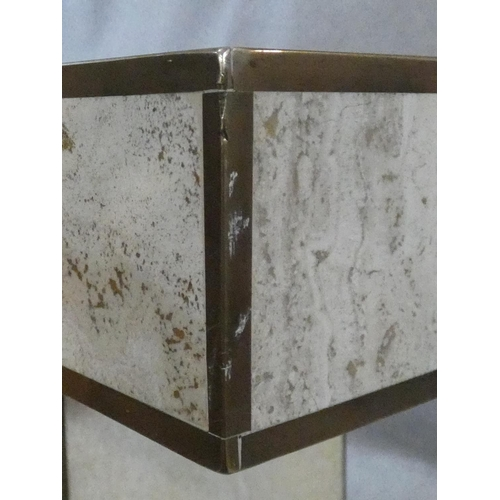 150 - A brass bound travertine marble dining table on pedestal base. H.74 W.181 L.90cm