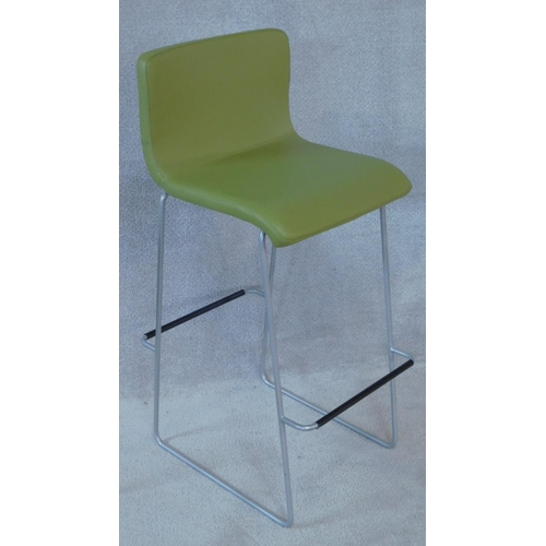151 - Three Orangebox high stools with upholstered seats on chrome supports. H.100cm